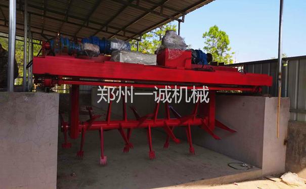 4米液压提升式槽式易胜博注册翻堆机浙江杭州安装现场